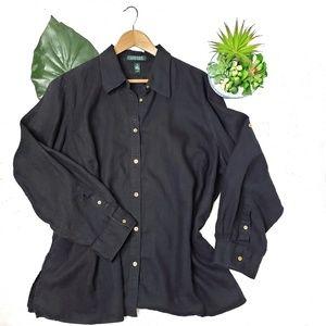 LRL 100% Linen Long Sleeve Shirt Black 3X